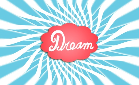 Warm dream cloud radiating white rays swirling on blue sky background photo
