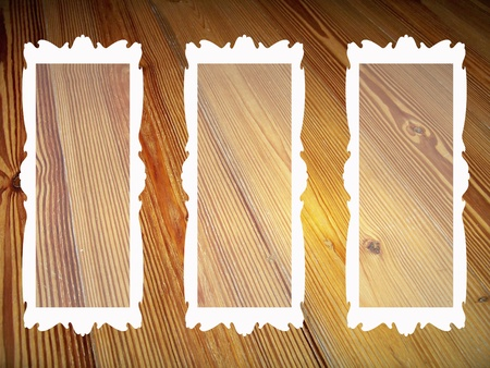 marquees: White frames with transparency on vintage natural striped wood background Stock Photo