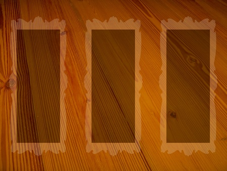 misteries: Orange brown old wood background with three rectangular empty frames