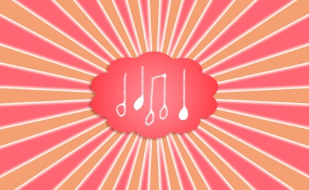 simetric: Composing music melodies concept, notes in a dream thought cloud radiating Stock Photo