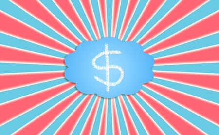simetry: Dreaming with American dollar or dollars, red blue and white background Stock Photo