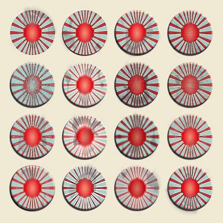 oxydation: Circular us badges, pins or labels set