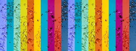 Colorful long striped background like a rainbow of banners with water drops in colors photo