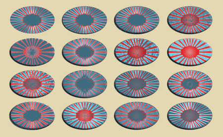 Group of oval set of USA flag colored ornamental banners or backgrounds photo