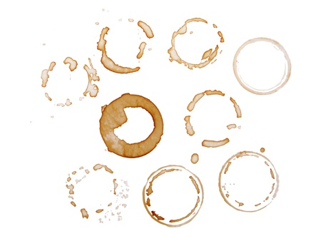 Business group in a meeting drinking coffee cups stains in circles isolated on white background  photo