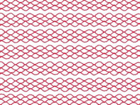 purls: Red crochet chains isolated on white