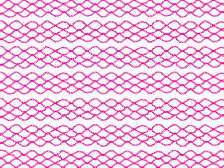 purls: Traditional crochet pattern in pink fabric isolated over white background