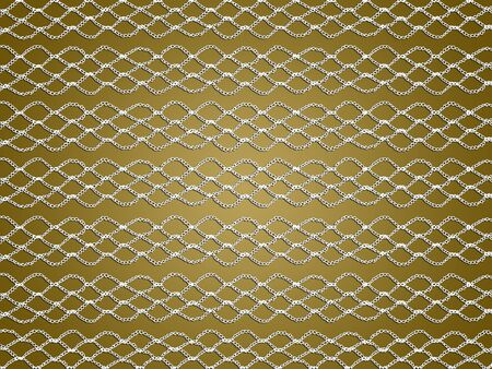 Elegant simple white crochet background on gold Stock Photo