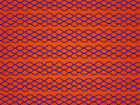 redish: Blue decorative crochet links over orange redish background