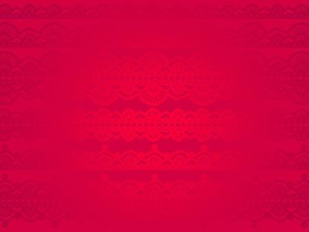 picot: Bellissimo sfondo chiaro ed elegante rosso con motivo a crochet di seta sottile con glitter