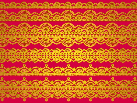 japanise: Elegant contrast in yellow gold and red silky cloth chinese or japanese background with bright crochet laces Stock Photo