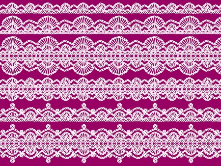 purls: White delicacy of crochet links in laces background pattern on purple