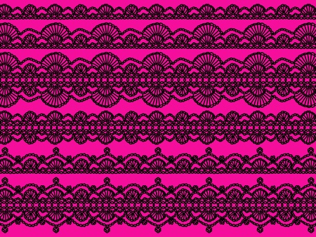 needle laces: Dark black old femenine crochet laces isolated over intense pink background Stock Photo