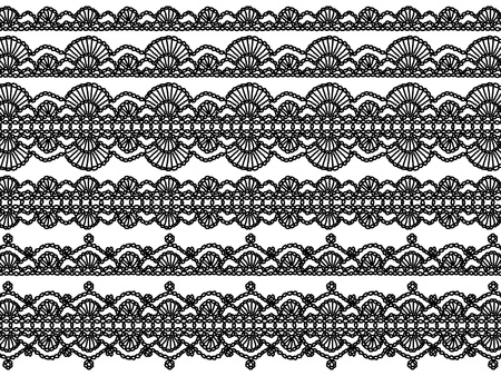 Black and white elegant background of crochet laces with waves patterns