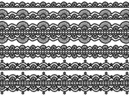 veters: Zwart-wit elegante achtergrond van de haak veters met golven patronen Stockfoto