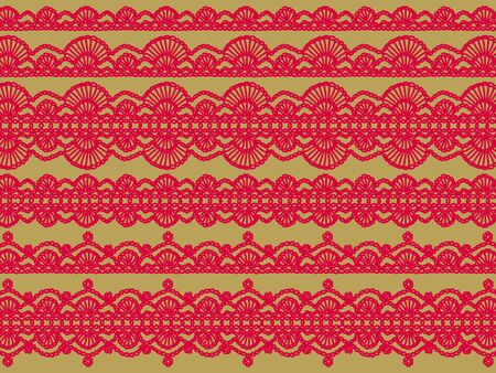 Knitt laces in red fabrics patterns on beige background  photo