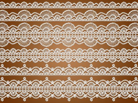 picots: Delicated white crochet knitting laces pattern isolated background
