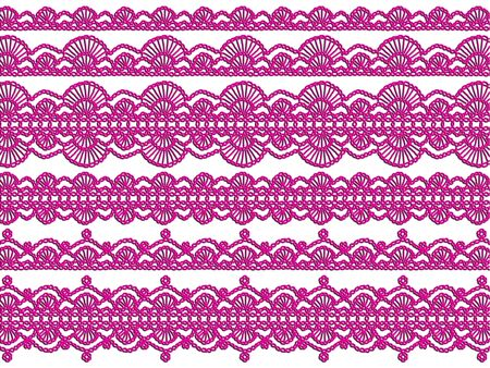 needle laces: Elegant femenine purple crochet isolated on white background