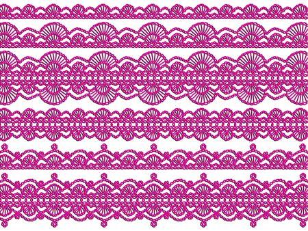 picot: Elegante crochet femenine viola isolato su sfondo bianco