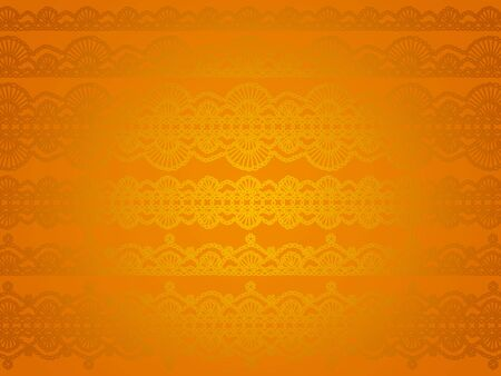 Golden caramel orange bright background with delicate crochet pattern photo