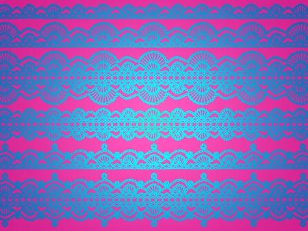 magentas: Brilliant glossy blue silk crochet pattern isolated on intense pink background