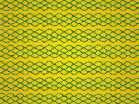 Green crochet knitted web isolated over yellow golden background photo