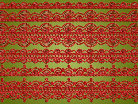 Christmas elegant background with red fabric crochet textil creations over bright sober green photo