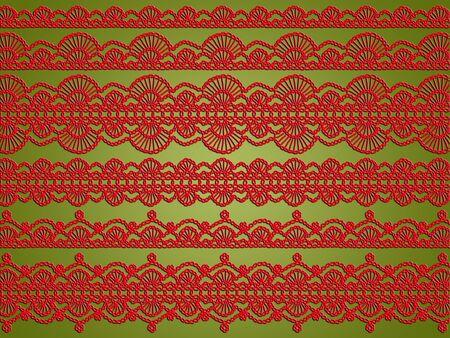 sobrio: La Navidad elegante fondo de color rojo con las creaciones de tela textil de ganchillo sobre el verde brillante sobria