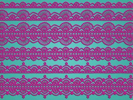 sophistication: Sophistication of purple crochet illustration isolated over greenish light blue background Stock Photo