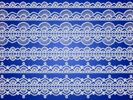 Elegant delicated beautiful festive background with white delicated crochet threads isolated over blue background photo