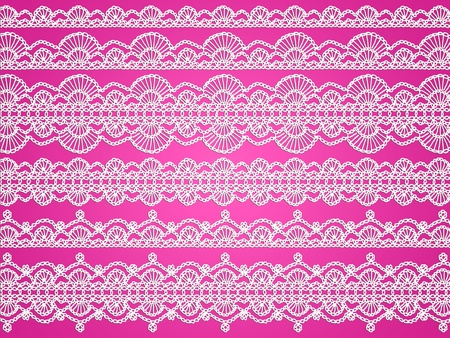 picot: Sfondo romantico con il bianco all'uncinetto artigianale a maglia modelli isolati su rosa Archivio Fotografico