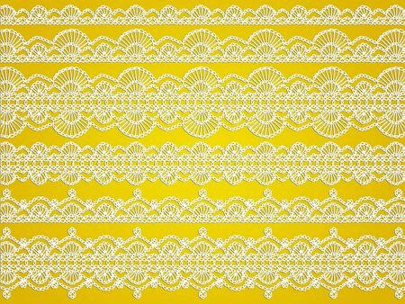 Golden background with white detailed waves laces of knitted handmade crochet