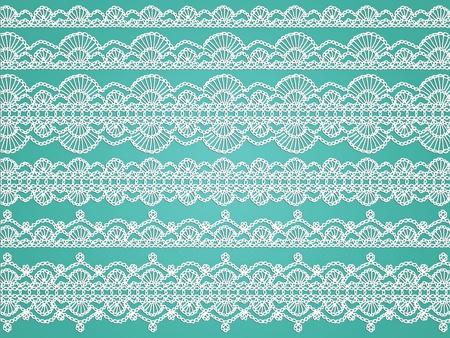 aqua background: Crochet blanco delicado transparentes patrones de tela de tejido aislados en el fondo acu�tico