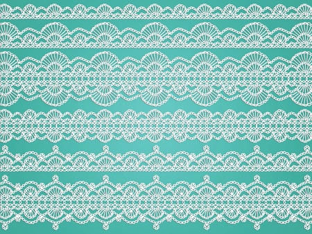 needle laces: White crochet delicated transparent fabric cloth patterns isolated on aqua background