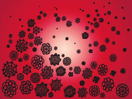 similitudes: Black crochet flowers details floating isolated over red background with a centered white light