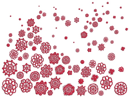 picots: Background of Christmas illustration with delicated red crochet tree, flowers, stars and snowflakes