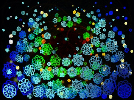 similitude: Psychodelic luminiscent fluorescent light multicolor crochet flowers floating in the dark space as background Stock Photo
