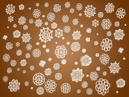 snow chain: Chocolate glossy background with white crochet patterns of flowers