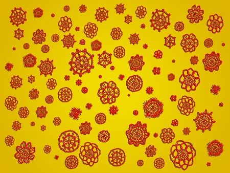 picots: Red crochet flowers rain isolated over yellow gold background