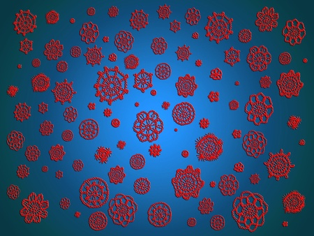 Backgrounds of red crochet flowersflying in blue air  Stock Photo - 12427194