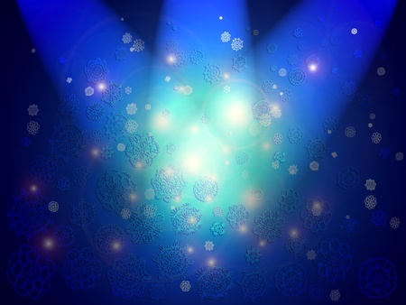 Three zenith lights for the illumination of a magic abstract space in blue with translucent crochet flowers in the air Stock Photo - 12427133