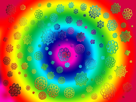 Psychodelic multicolor hippy tunnel of rainbow with crochet flowers Stock Photo