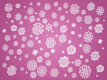 Old pink sober beautiful background with crochet flowers details in white photo