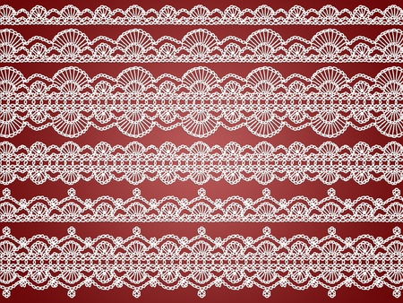 Delicacy of crochet laces patterns over redish brown background photo