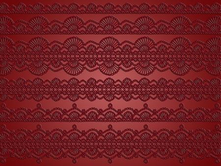 picot: Bruno rosso, bianco e nero raffinato sfondo crochet pattern Archivio Fotografico