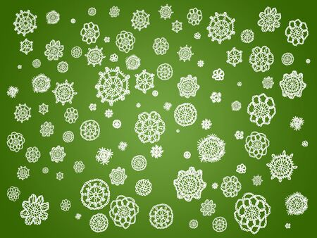 Green wallpaper with white flowers of crochet laces photo