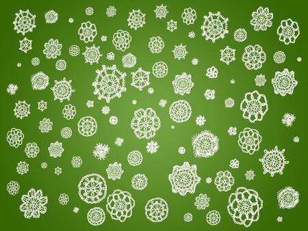 picot: Sfondo verde con fiori bianchi di merletti all'uncinetto