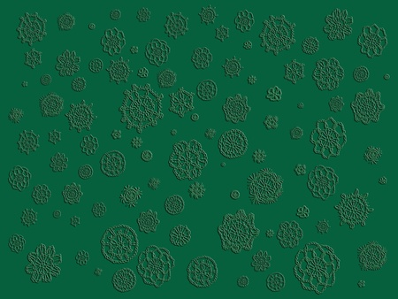 misteries: Elegant simple monochrome Christmas backdrop with crochet flowers in 3D