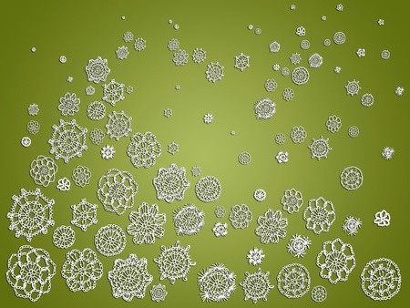 snow chain: Illusory Christmas landscape in sober green with crochet flowers creating the magic view