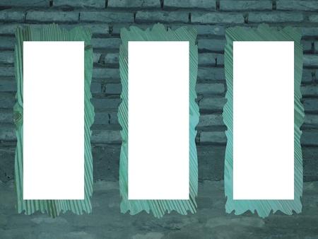 cian: Three rectangular empty free frames over a brickwall background in greenish cian